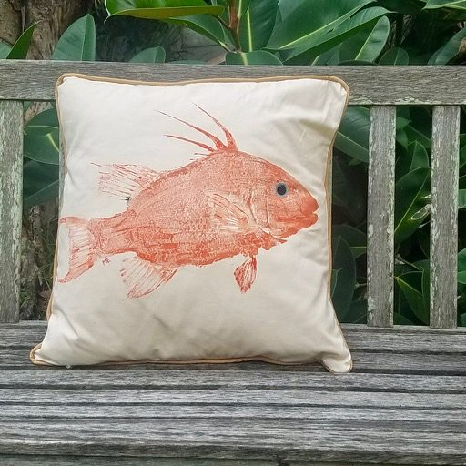 Marine art on a handcrafted pillow.